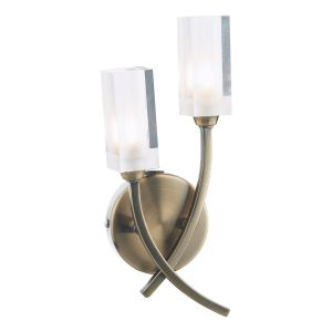 DAR MOR0975 Morgan Double Wall Light Antique Brass/Clear Glass Finish