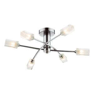 DAR MOR6446 Morgan 6 Light Semi Flush Satin Chrome/Clear Glass Finish