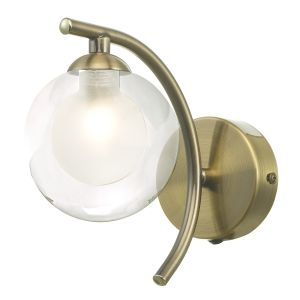 Nakita 1 Light G9 Single Wall Light Antique Brass Finish With Clear/Opal Glass Shade With Pull Cord Switch