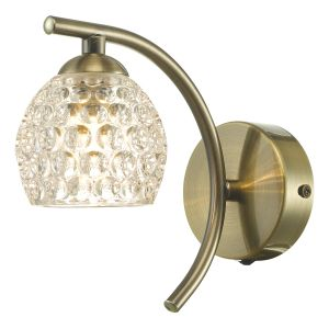 Nakita 1 Light G9 Single Wall Light Antique Brass Finish With Dimpled Glass Shade With Pull Cord Switch