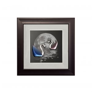 Diyas Home IL70504 (DH) Nature Moonlight Swans Black Frame Blue, Pink, Clear Crystal