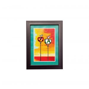 Diyas Home IL70508 (DH) Nature Apples,  Black Frame,  Amber, Green, Red Crystal