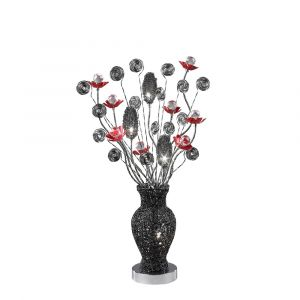 Diyas Home IL70382 (DH) Nevada Table Lamp 4 Light Black/Red/Crystal