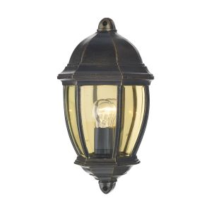 DAR NEW2135 Newport Single Outdoor Wall Light Black Gold/Clear Glass Finish