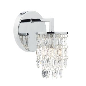 DAR NIA0750 Niagra Single Wall Light Polished Chrome/Crystal Finish Switched