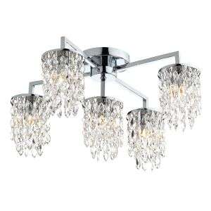 DAR NIA5450 Niagra 5 Light Flush Polished Chrome/Crystal Finish