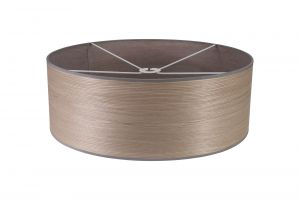 Nu Niva Round, 600 x 210mm Wood Effect Shade, Grey Oak/White Laminate