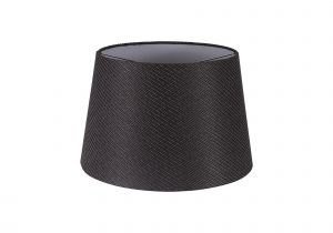 Nu Niva Round, 320/400 x 260mm Fabric Shade, Charcoal Grey/White Laminate