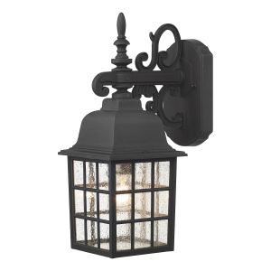 DAR NOR1522 Norfolk Single Outdoor Wall Light Black/Clear Glass Finish