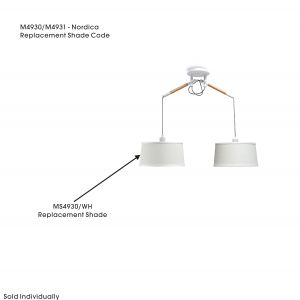 Mantra MS4930/WH Nordica White Fabric/PVC Shade For M4930 / M4931, 330mmx170mm
