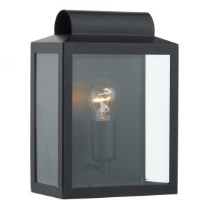 DAR NOT2122 Notary Single Outdoor Wall Light Black/Clear Glass Finish
