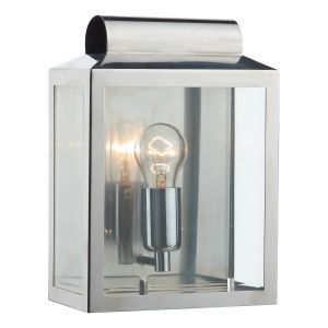DAR NOT2144 Notary Single Outdoor Wall ight Satin Silver/Clear Glass Finish