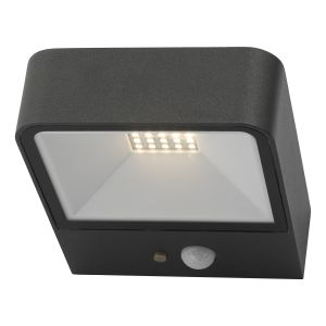 Dar NOX2139 Noxolo Single Wall Light Square Anthracite Solar Power PIR Sensor Outdoor LED Finish