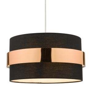 Oki E27 Non Electric Shade In Black Cotton With Copper Band Finish (Shade Only)