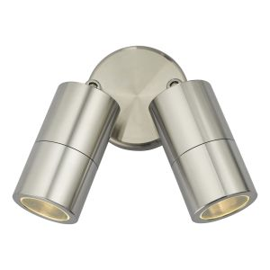 Dar ORT0968 Ortega Double Outdoor Wall Light Aluminium Finish