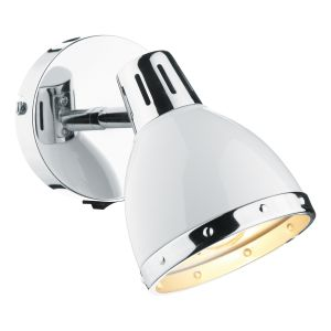 DAR OSA072 Osaka Single Spotlight White/Polished Chrome Finish Switched