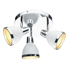 DAR OSA762 Osaka 3 Light Spotlight White/Polished Chrome Finish