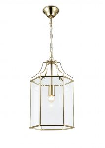Deco D0095 Payton Single Hexagonal Pendant 1 Light E27 French Gold/Clear Glass
