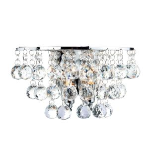 DAR PLU0950 Pluto Double Wall Light Crystal/Polished Chrome Finish Switched