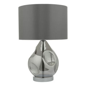 DAR QUI4210 Quinn Single Table Lamp Smoked Glass Finish