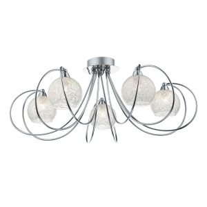 DAR RAF5450 Rafferty 5 Light Semi Flush Polished Chrome/Clear Glass Finish