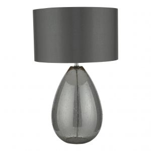 DAR RAI4239 Rain Single Table Lamp Smoked Glass/Polished Chrome Finish