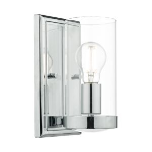 DAR RAM0750 Ramiro Single Wall Light Polished Chrome/Clear Glass Finish Switched