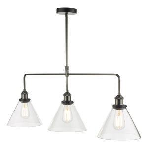 Ray 3 Light Bar Pendant Antique Nickel Clear Glass