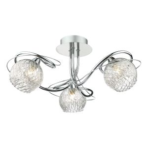 DAR REH0350 Rehan 3 Light Semi Flush Polished Chrome/Clear Glass Finish