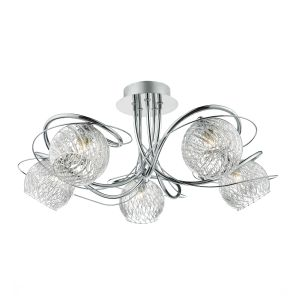 DAR REH0550 Rehan 5 Light Semi Flush Polished Chrome/Clear Glass Finish