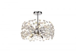 Riptor Semi-Flush Pendant 8 Light G9  Polished Chrome/Crystal