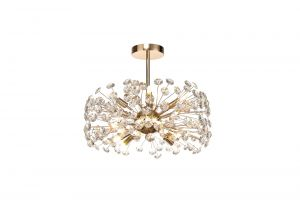 Riptor Semi-Flush Pendant 8 Light G9  French Gold/Crystal