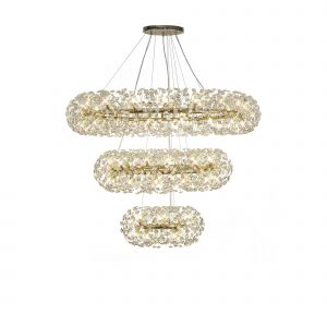 Riptor 3 Tier Pendant 74 Light G9  French Gold/Crystal