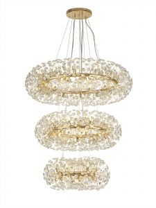 Riptor 3 Tier Pendant 58 Light G9  French Gold/Crystal