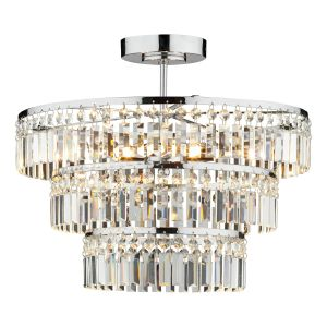 DAR ROW5450 Rowena 3 Light Semi Flush Crystal/Polished Chrome Finish
