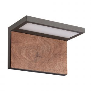 Ruka Wall Lamp, 13W LED, 3000K, 850lm, IP54, Anthracite/Walnut, 3yrs Warranty