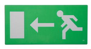 Saxby RUNLEG2 Single Runner Fire Exit Sign Arrow Left Green Acrylic Finish