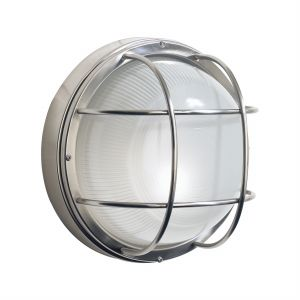 DAR SAL5044 Salcombe Single Outdoor Wall Light Stainless Steel/Clear Glass Finish