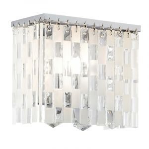 Endon SANTINI-1WB 1 Light Wall Bracket With Patterned Glass Rods & Crystal Drops 1 Light In Glass