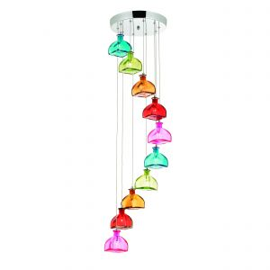 Sarandon 10lt Pendant Multi Coloured Glass/Polished Chrome Finish