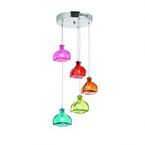 Sarandon 5lt Pendant Multi Coloured Glass/Polished Chrome Finish