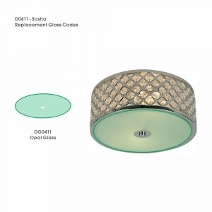 Deco DG0411 Sasha Replacement Opal Glass Diffuser For D0411, D0412