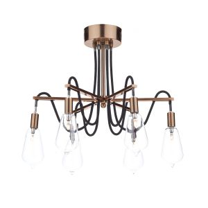 DAR SCR0664 Scroll 6 Light Semi Flush Copper/Clear Glass Finish