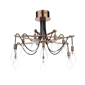 DAR SCR2364 Scroll 10 Light Semi Flush Copper/Clear Glass Finish