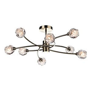 DAR SEA0875 Seattle 8 Light Semi Flush Antique Brass/Clear Glass Finish
