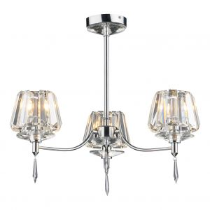 DAR SEL0350 Selina 3 Light Semi Flush Polished Chrome/Crystal Finish