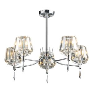 DAR SEL0550 Selina 5 Light Semi Flush Polished Chrome/Crystal Finish