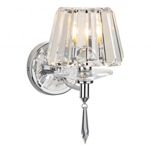 DAR SEL0750 Selina Single Wall Light Polished Chrome/Crystal Finish