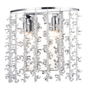 DAR SES0950 Sestina Double Wall Light Crystal/Polished Chrome Finish Switched