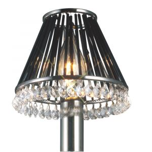 Diyas IL30900 Crystal Clip-On Shade With Black Glass Rods Black Chrome/Crystal